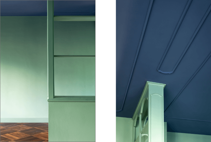 Color block - libreria e soffitto